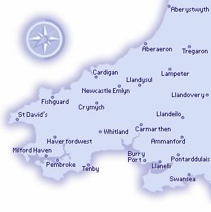 Map of area covered by the South West Wales branch of the SLA